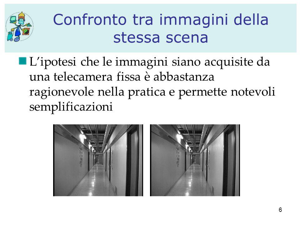 6 Confronto tra immagini della stessa scena L'ipotesi che le immagini siano acquisite da una telecamera fissa è abbastanza ragionevole nella pratica e