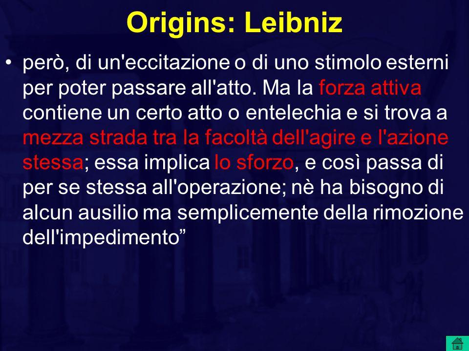 Origins: Leibniz però, di un eccitazione o di uno stimolo esterni per poter passare all atto.