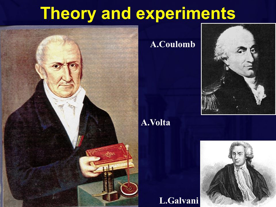 Theory and experiments A.Volta L.Galvani A.Coulomb