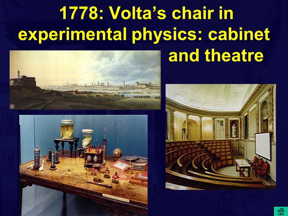 1778: Volta's chair in experimental physics: cabinet and theatre