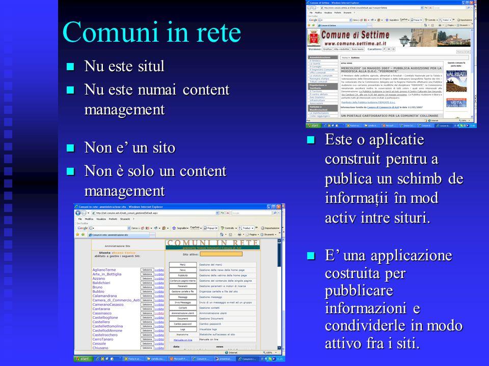 Comuni in rete Nu este situl Nu este situl Nu este numai content management Nu este numai content management Este o aplicatie construit pentru a publica un schimb de informaţii în mod activ intre situri.