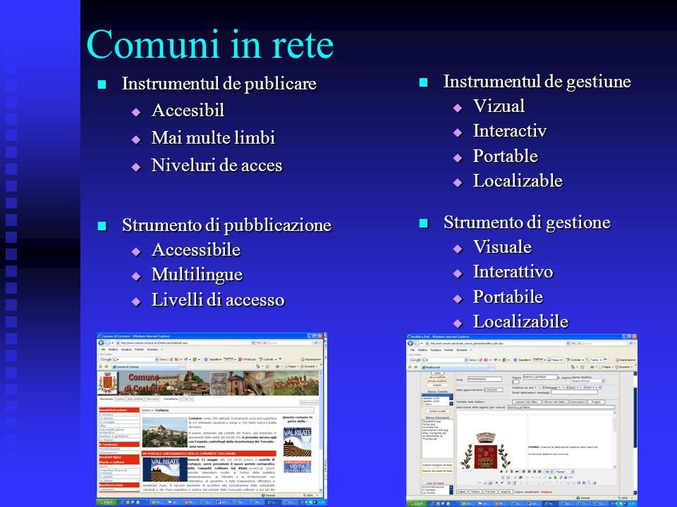 Comuni in rete Instrumentul de publicare Instrumentul de publicare  Accesibil  Mai multe limbi  Mai multe limbi  Niveluri de acces Instrumentul de