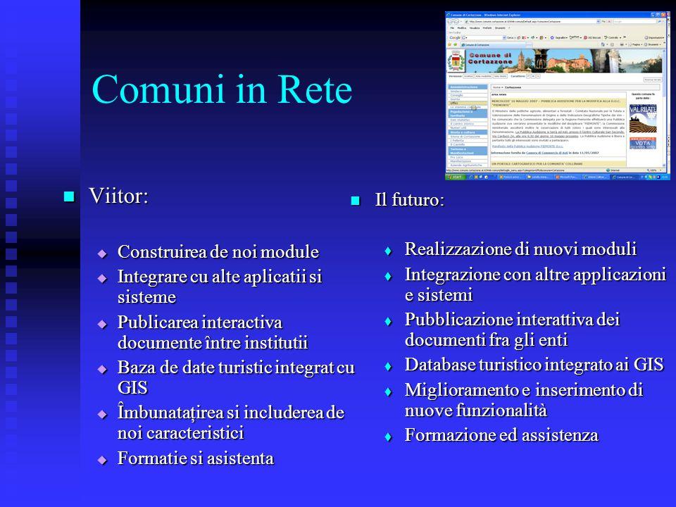 Comuni in Rete Viitor: Viitor:  Construirea de noi module  Integrare cu alte aplicatii si sisteme  Publicarea interactiva documente întreinstitutii