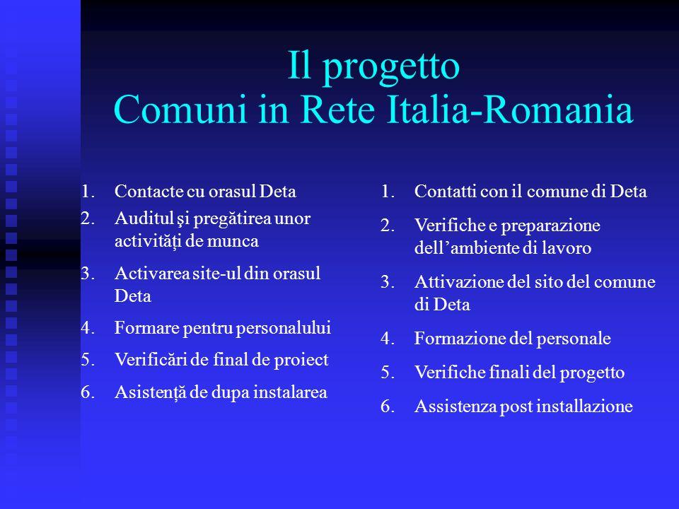 Il progetto Comuni in Rete Italia-Romania 1.Contacte cu orasul Deta 2.Auditul şi pregătirea unor activităţi de munca 3.Activarea site-ul din orasul De
