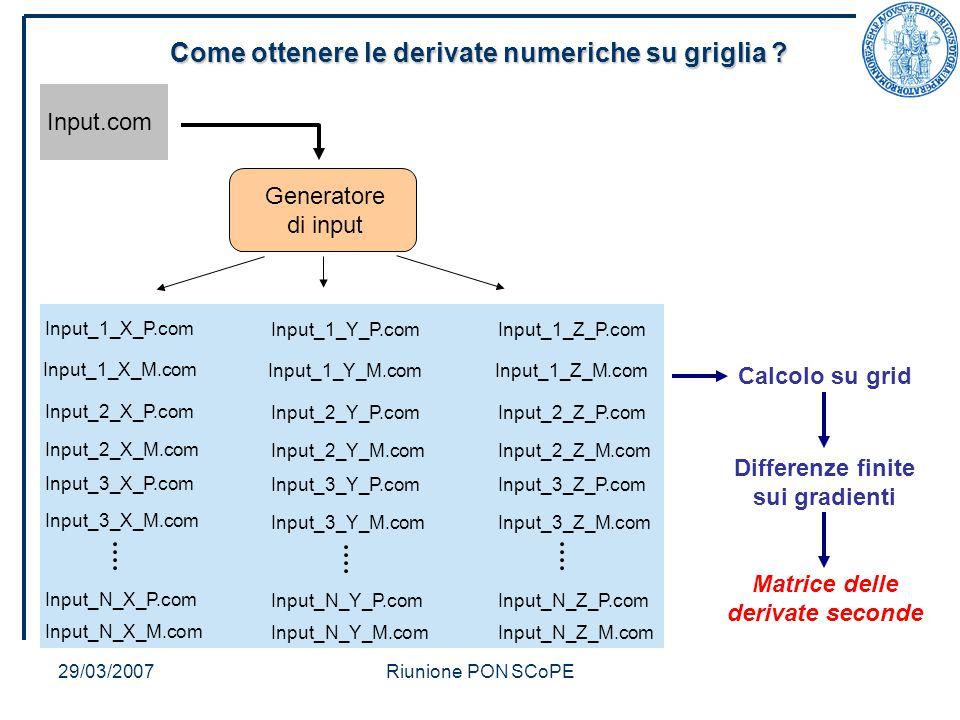 29/03/2007Riunione PON SCoPE Come ottenere le derivate numeriche su griglia .