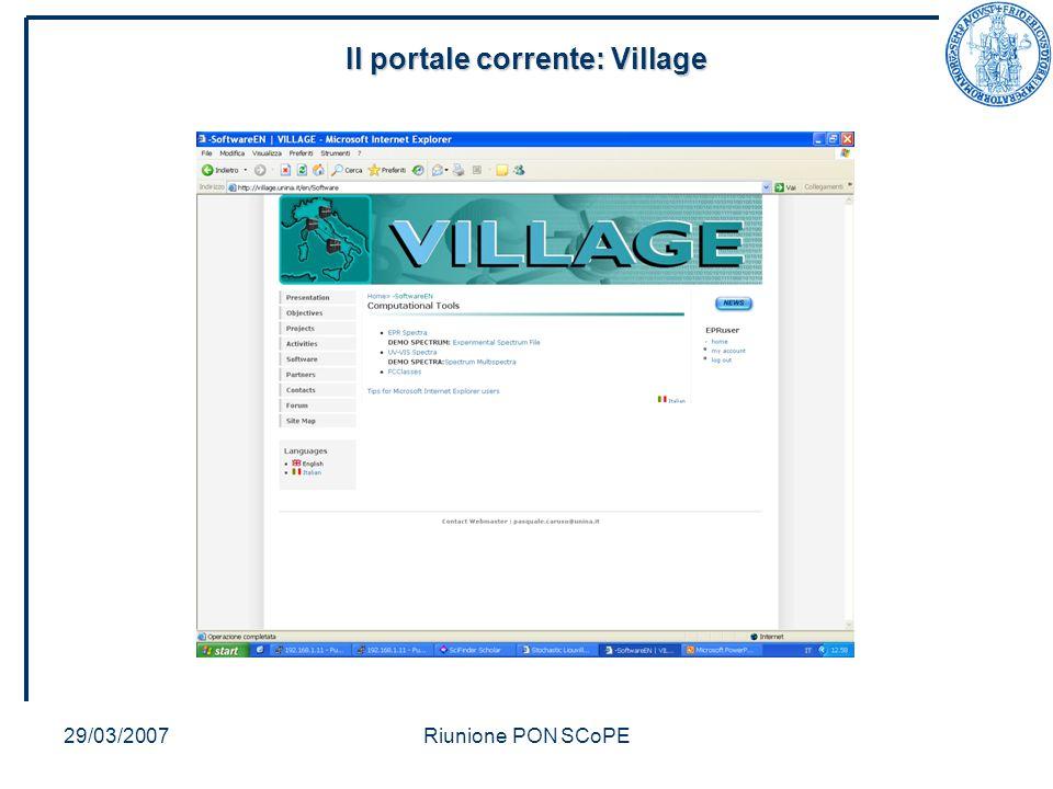 29/03/2007Riunione PON SCoPE Il portale corrente: Village