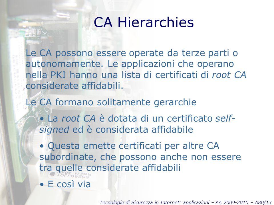 Tecnologie di Sicurezza in Internet: applicazioni – AA 2009-2010 – A80/13 CA Hierarchies Le CA possono essere operate da terze parti o autonomamente.
