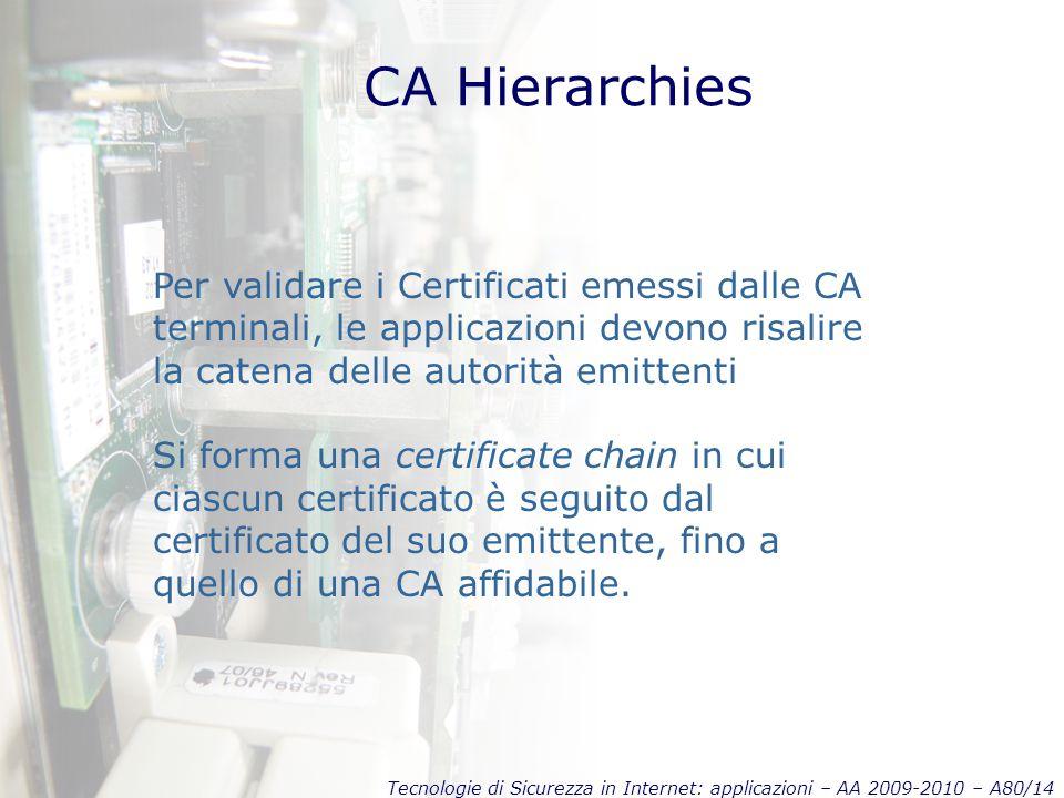 Tecnologie di Sicurezza in Internet: applicazioni – AA 2009-2010 – A80/14 CA Hierarchies Per validare i Certificati emessi dalle CA terminali, le applicazioni devono risalire la catena delle autorità emittenti Si forma una certificate chain in cui ciascun certificato è seguito dal certificato del suo emittente, fino a quello di una CA affidabile.