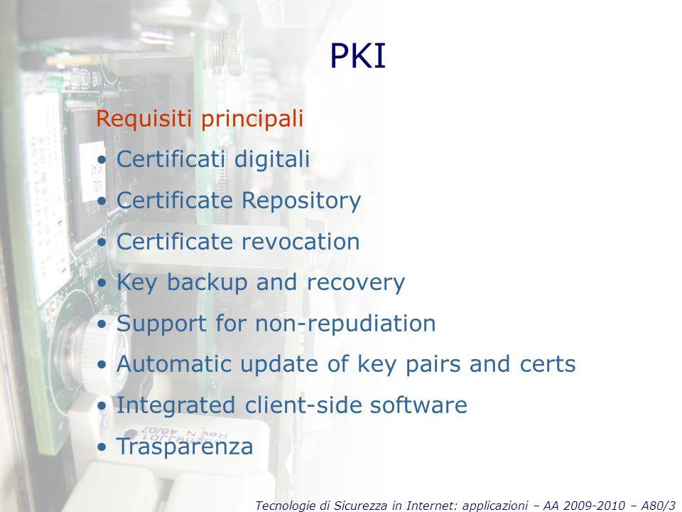 Tecnologie di Sicurezza in Internet: applicazioni – AA 2009-2010 – A80/3 PKI Requisiti principali Certificati digitali Certificate Repository Certific