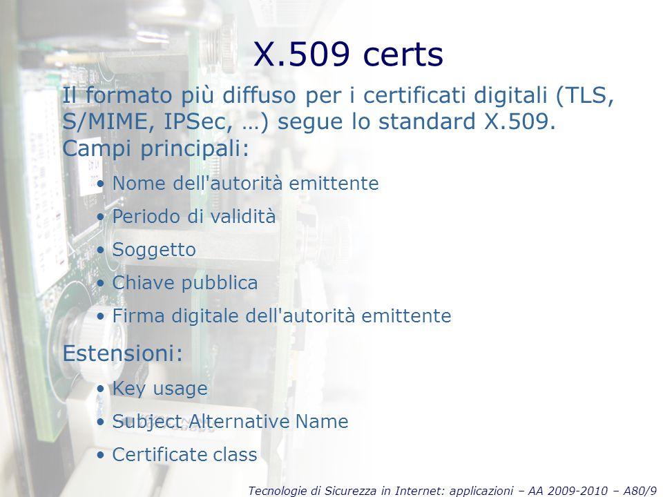 Tecnologie di Sicurezza in Internet: applicazioni – AA 2009-2010 – A80/9 X.509 certs Il formato più diffuso per i certificati digitali (TLS, S/MIME, IPSec, …) segue lo standard X.509.