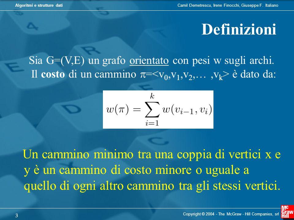 Camil Demetrescu, Irene Finocchi, Giuseppe F. ItalianoAlgoritmi e strutture dati Copyright © 2004 - The McGraw - Hill Companies, srl 3 Definizioni Sia