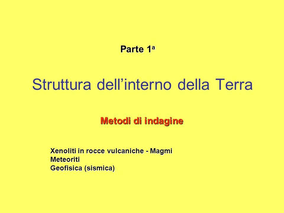 Struttura dell'interno della Terra Parte 1 a Metodi di indagine Xenoliti in rocce vulcaniche - Magmi Meteoriti Geofisica (sismica)