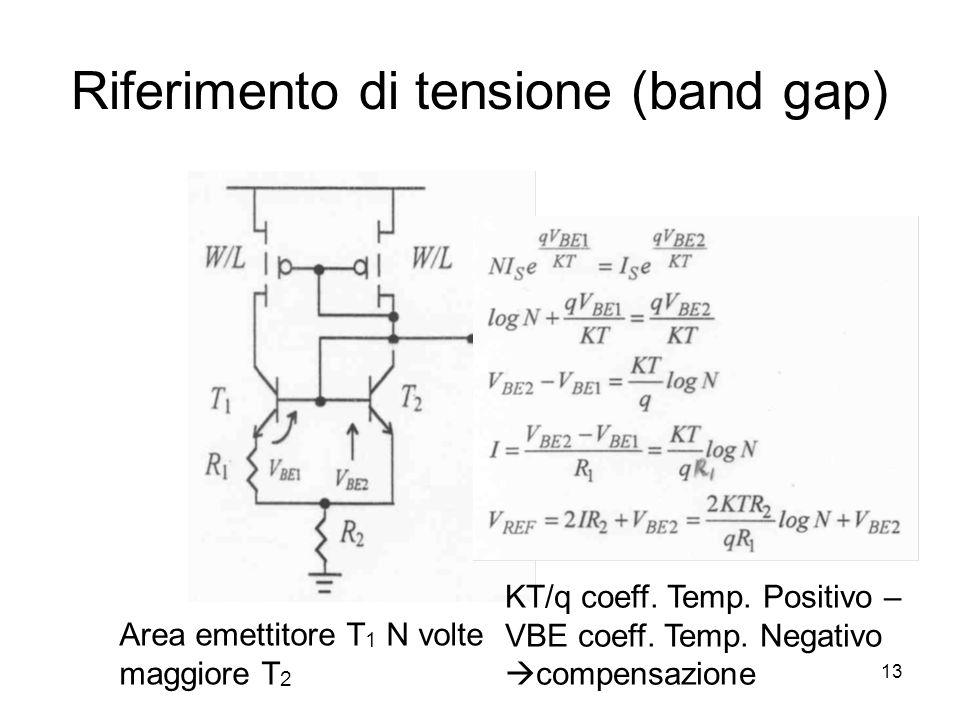 13 Riferimento di tensione (band gap) Area emettitore T 1 N volte maggiore T 2 KT/q coeff.