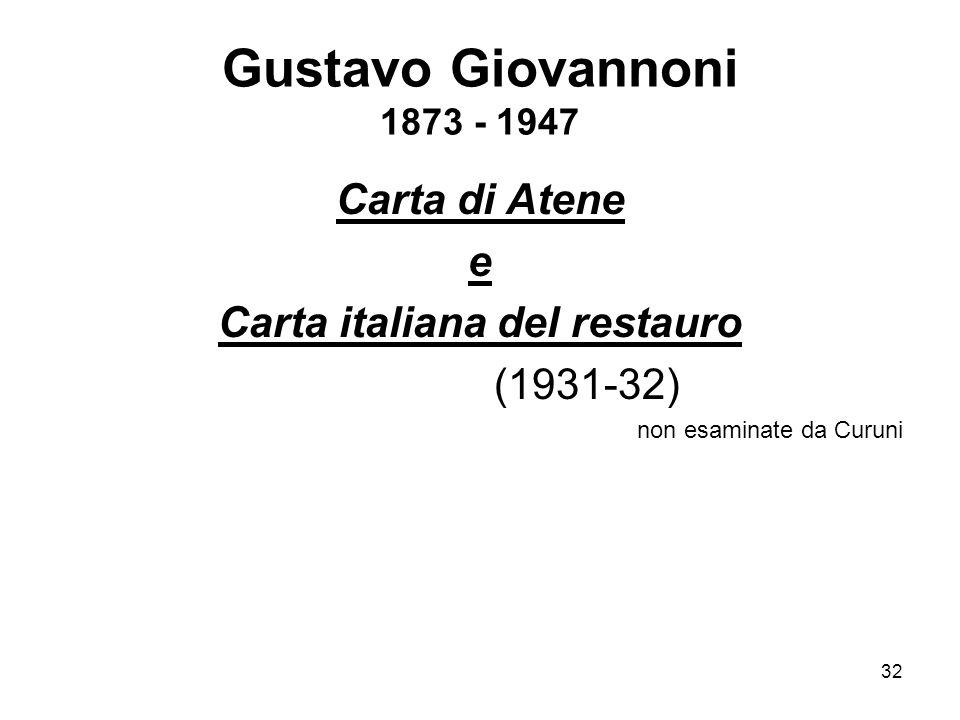 32 Gustavo Giovannoni 1873 - 1947 Carta di Atene e Carta italiana del restauro (1931-32) non esaminate da Curuni