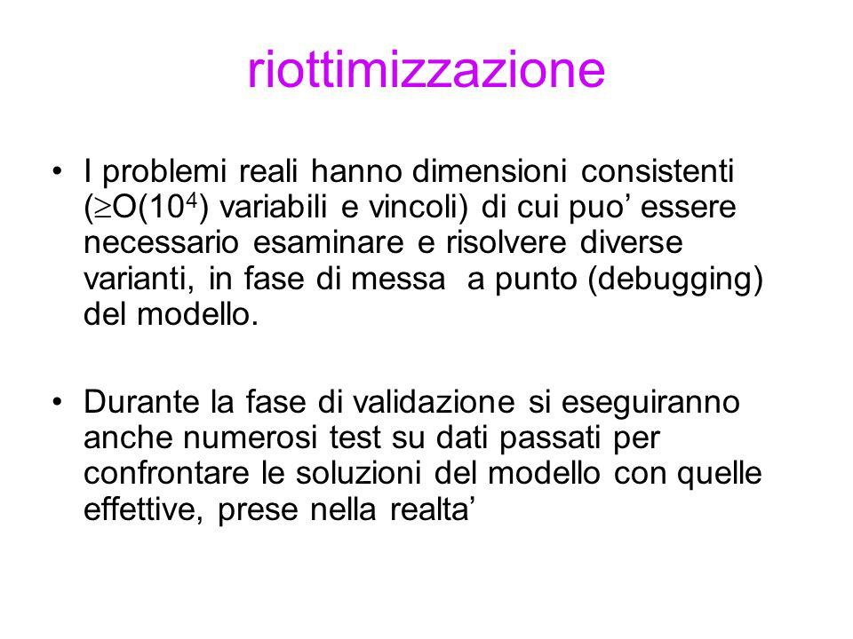 riottimizzazione I problemi reali hanno dimensioni consistenti (  O(10 4 ) variabili e vincoli) di cui puo' essere necessario esaminare e risolvere d