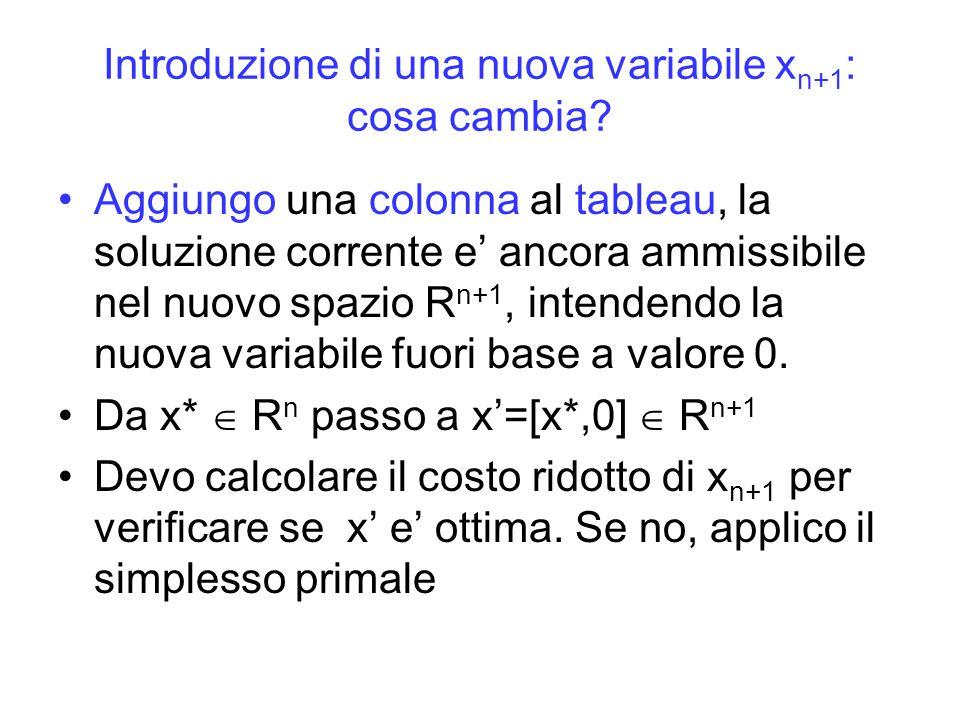 Introduzione di una nuova variabile x n+1 : cosa cambia? Aggiungo una colonna al tableau, la soluzione corrente e' ancora ammissibile nel nuovo spazio
