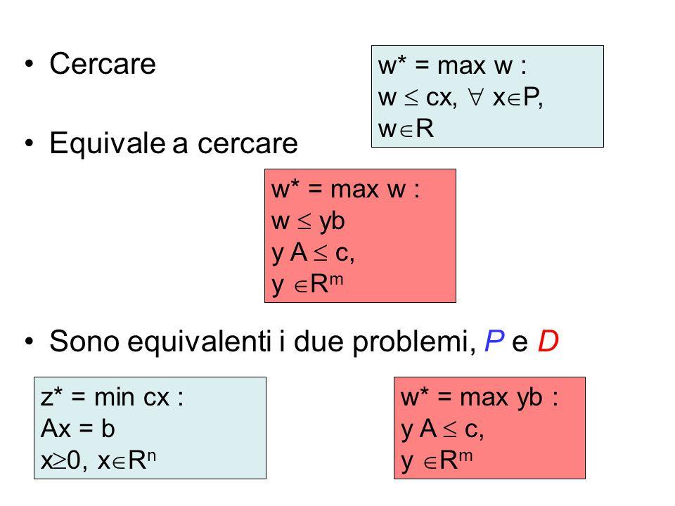 Cercare Equivale a cercare Sono equivalenti i due problemi, P e D z* = min cx : Ax = b x  0, x  R n w* = max w : w  yb y A  c, y  R m w* = max w