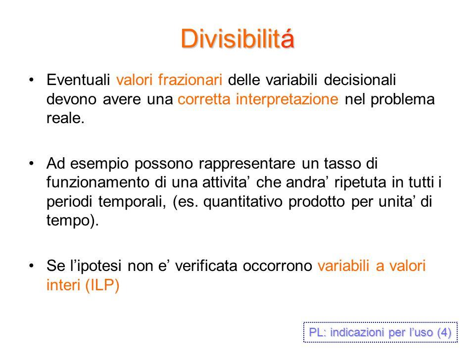Divisibilitá Eventuali valori frazionari delle variabili decisionali devono avere una corretta interpretazione nel problema reale. Ad esempio possono