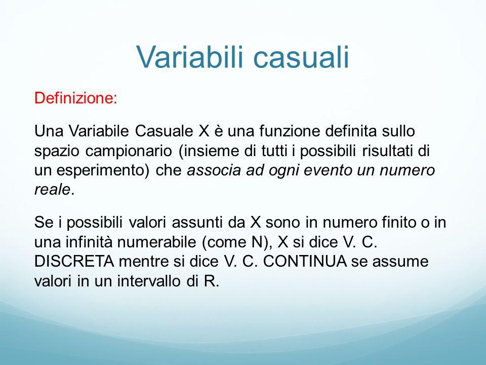Distribuzioni di Probabilità Definizione: A ciascun valore assunto dalla V.
