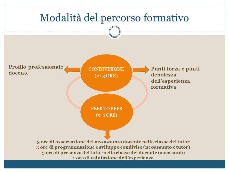 Modalità del percorso formativo CONDIVISIONE (2+3 ORE) PEER TO PEER (9+1 ORE) Profilo professionale docente Punti forza e punti debolezza dell'esperie