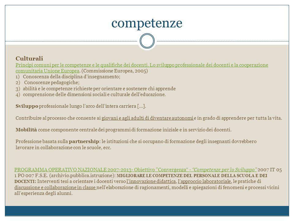 competenze Culturali Principi comuni per le competenze e le qualifiche dei docenti. Lo sviluppo professionale dei docenti e la cooperazione comunitari