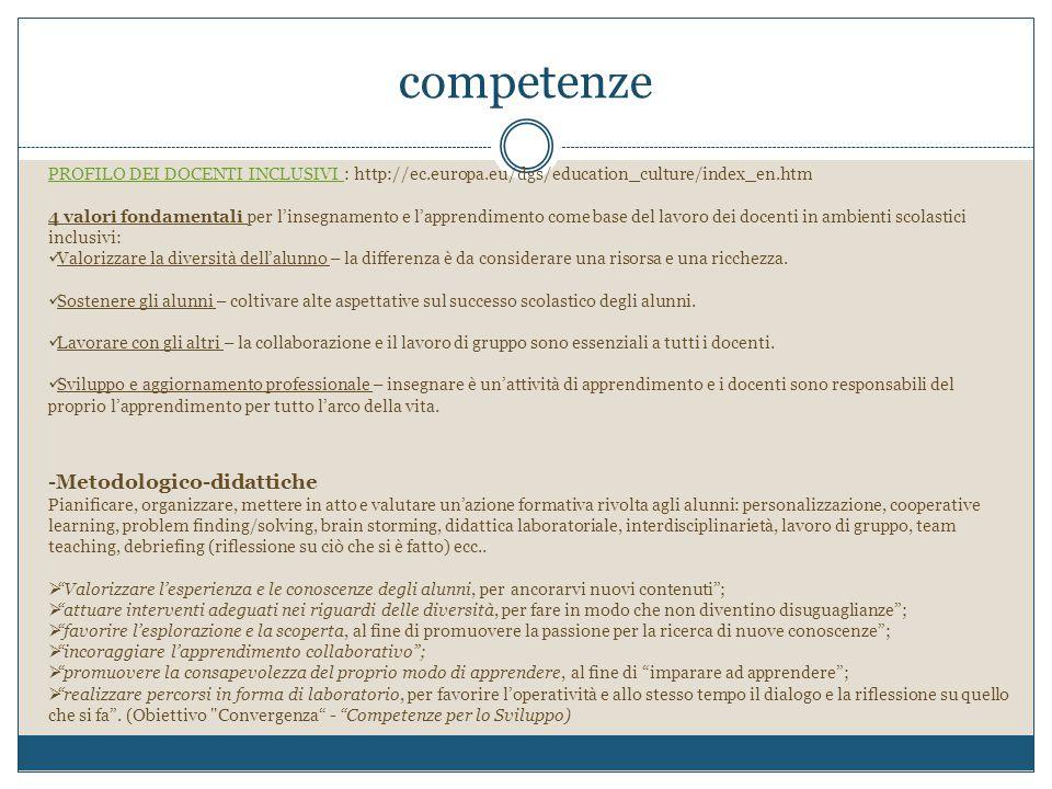 competenze PROFILO DEI DOCENTI INCLUSIVI PROFILO DEI DOCENTI INCLUSIVI : http://ec.europa.eu/dgs/education_culture/index_en.htm 4 valori fondamentali