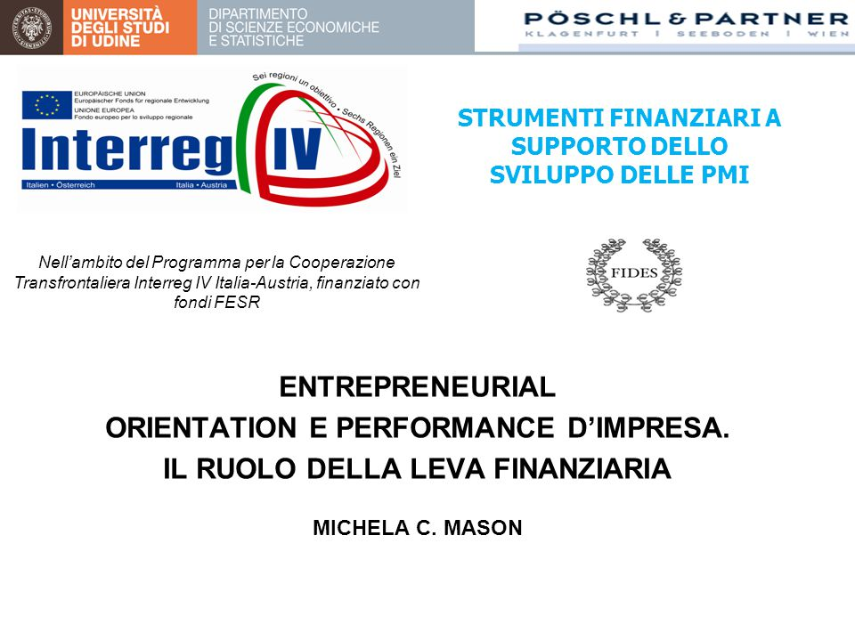 ENTREPRENEURIAL ORIENTATION E PERFORMANCE D'IMPRESA.