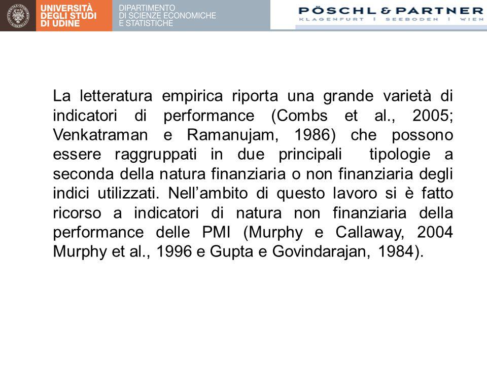 La letteratura empirica riporta una grande varietà di indicatori di performance (Combs et al., 2005; Venkatraman e Ramanujam, 1986) che possono essere