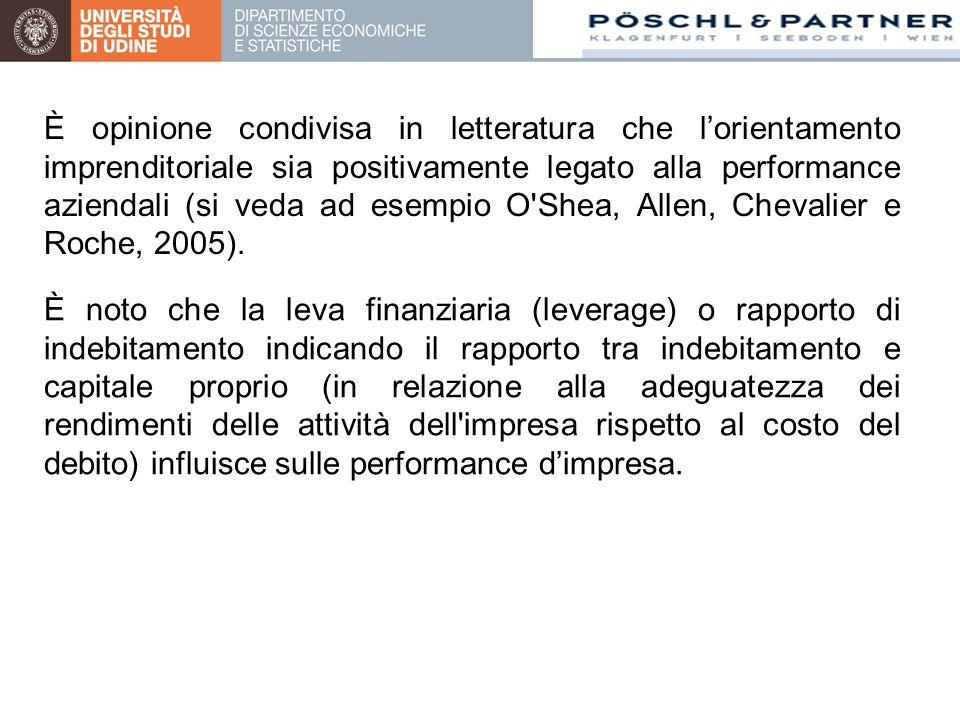 È opinione condivisa in letteratura che l'orientamento imprenditoriale sia positivamente legato alla performance aziendali (si veda ad esempio O Shea, Allen, Chevalier e Roche, 2005).