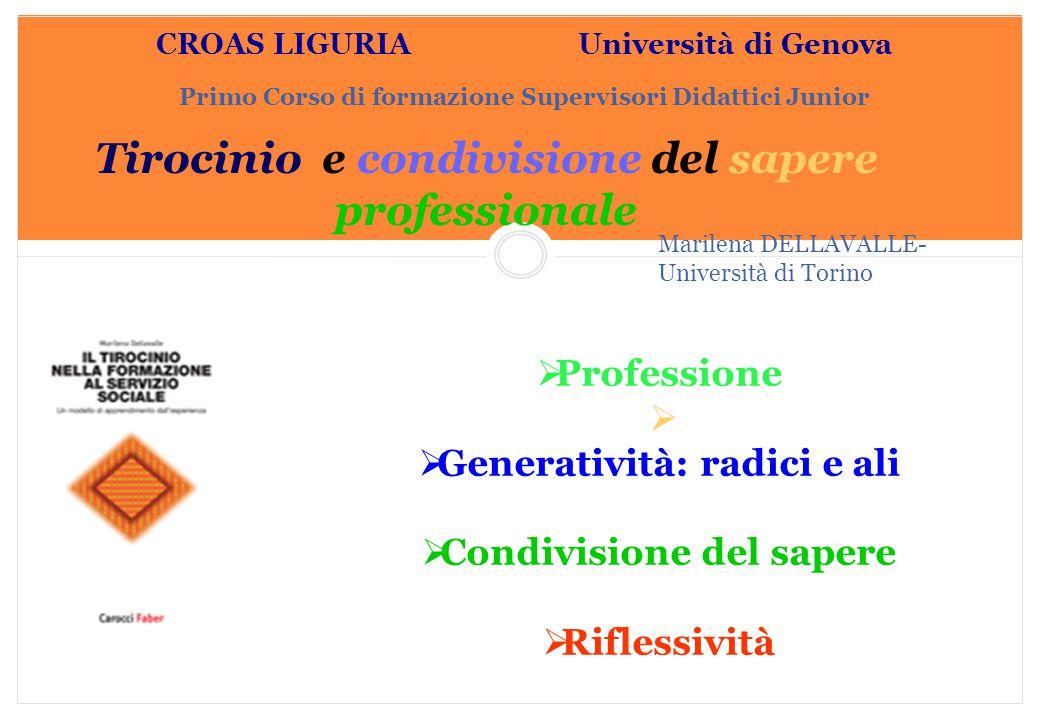 Marilena DELLAVALLE - Università di Torino-2014 CROAS LIGURIA Università di Genova Primo Corso di formazione Supervisori Didattici Junior  Profession