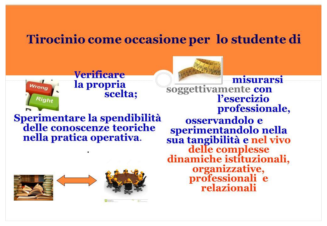 Marilena DELLAVALLE - Università di Torino-2014 Tirocinio come occasione per lo studente di V erificare la propria scelta; Sperimentare la spendibilit