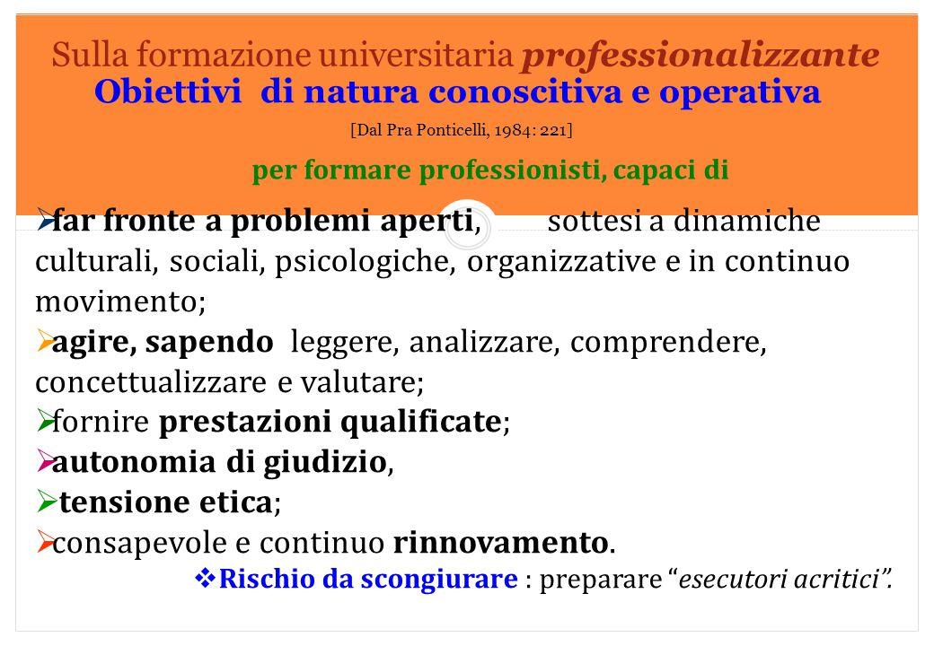 Marilena DELLAVALLE - Università di Torino-2014 Sulla formazione universitaria professionalizzante Obiettivi di natura conoscitiva e operativa [Dal Pr
