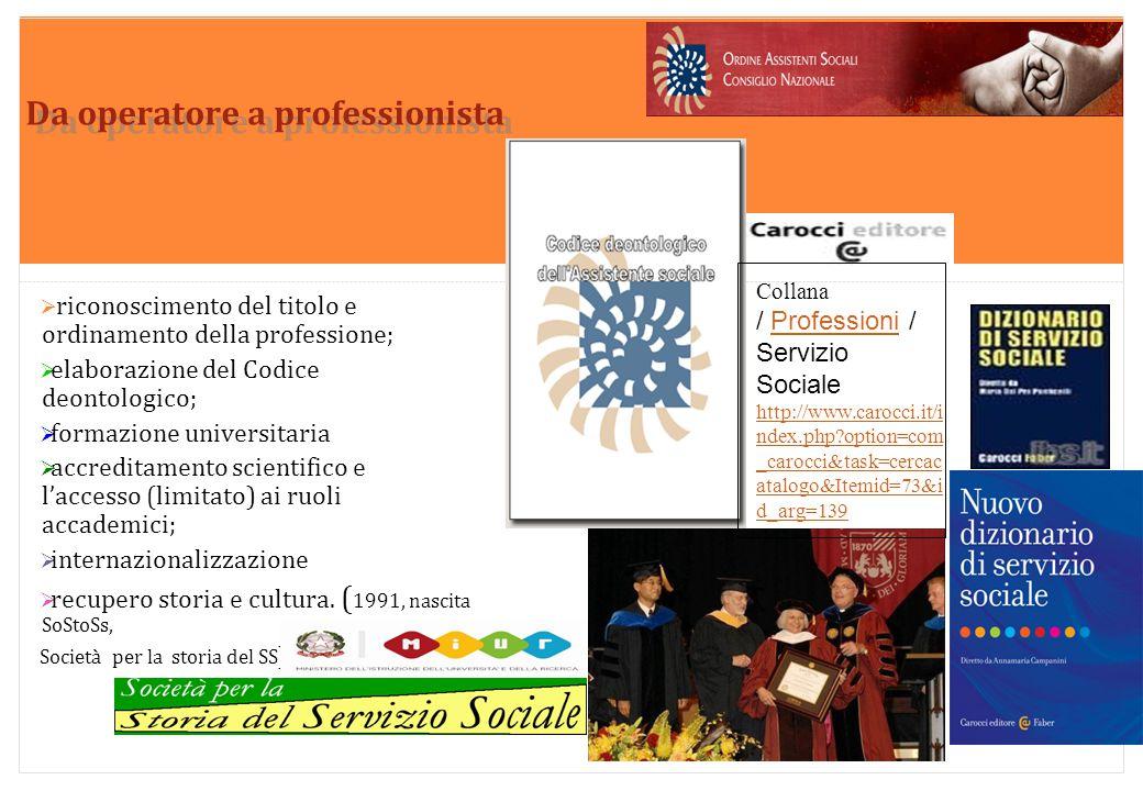 Marilena DELLAVALLE - Università di Torino-2014 Da operatore a professionista  riconoscimento del titolo e ordinamento della professione;  elaborazi