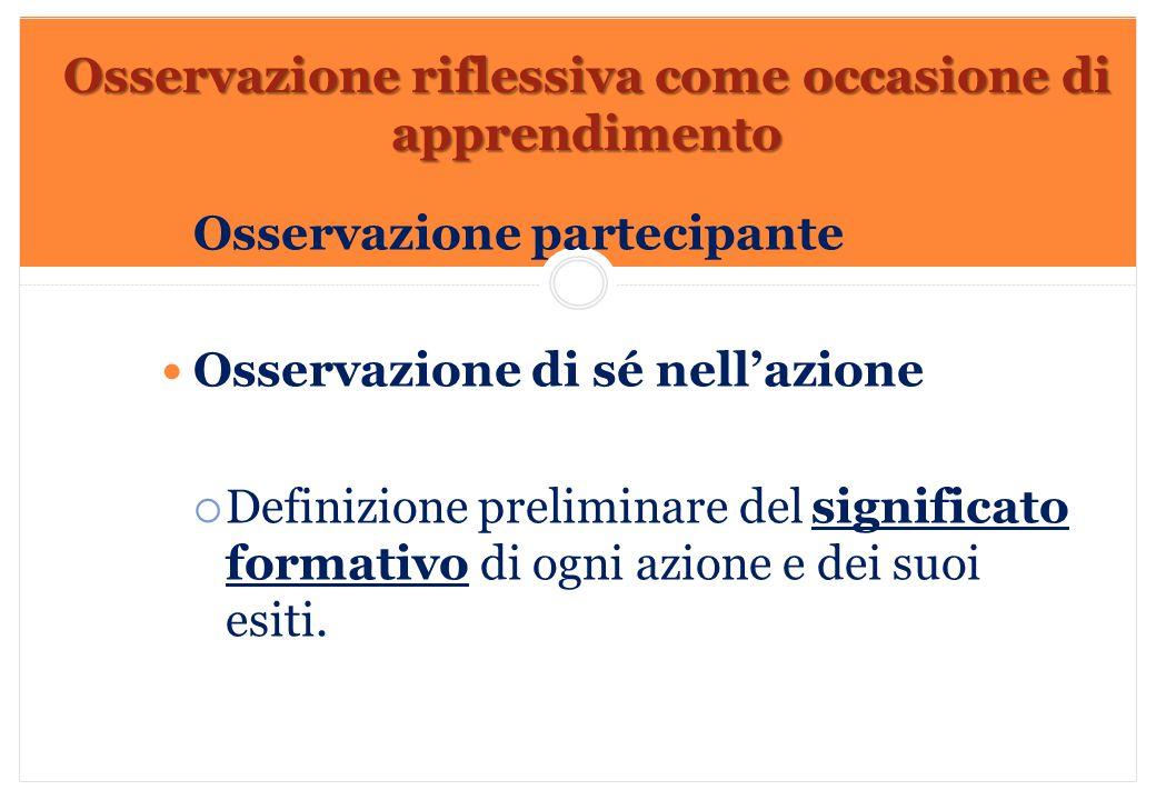 Marilena DELLAVALLE - Università di Torino-2014 Osservazione partecipante Osservazione di sé nell'azione  Definizione preliminare del significato for