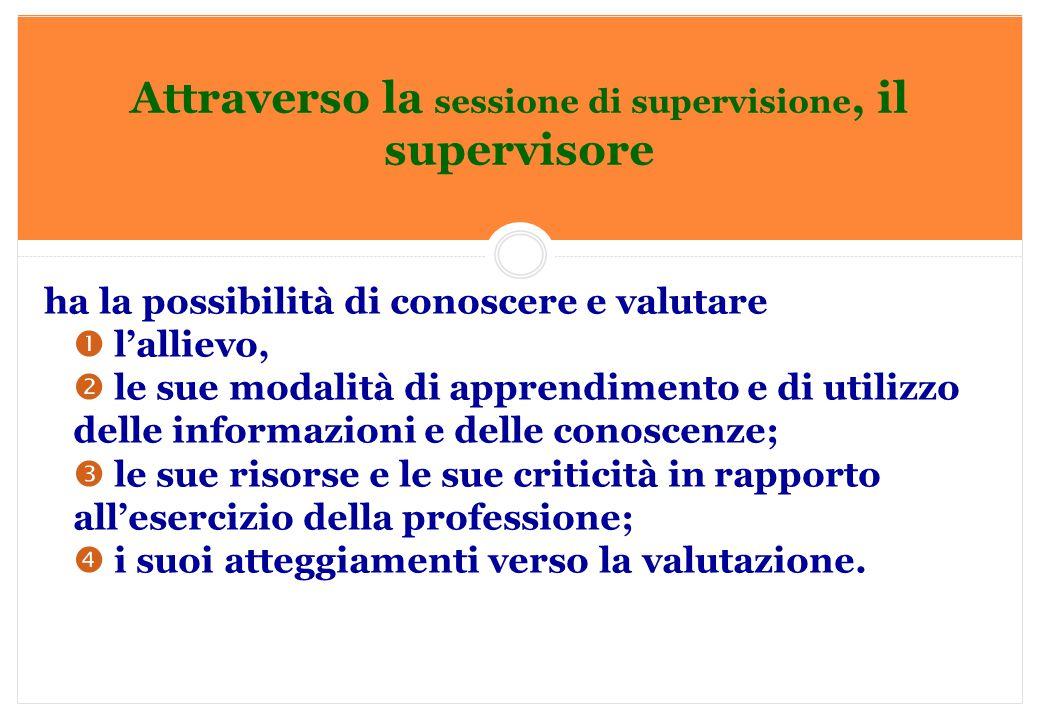Marilena DELLAVALLE - Università di Torino-2014 Attraverso la sessione di supervisione, il supervisore ha la possibilità di conoscere e valutare  l'a