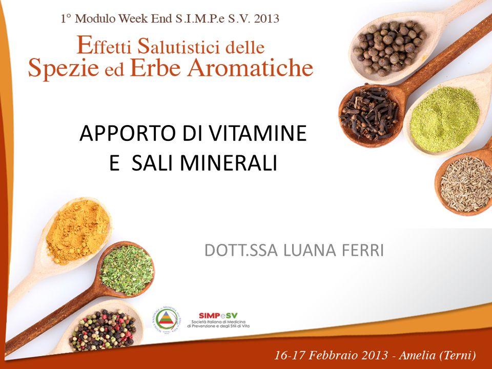 Vitamine mg/100 gr.Sali Minerali mg/100 gr. Vit. A (  g) Retinolo eq.