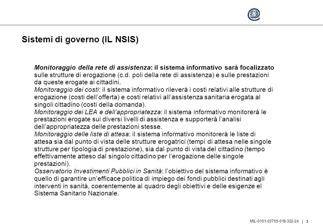3 MIL-0101-03755-018-322-24 Sistemi di governo (IL NSIS) Monitoraggio della rete di assistenza: il sistema informativo sarà focalizzato sulle struttur