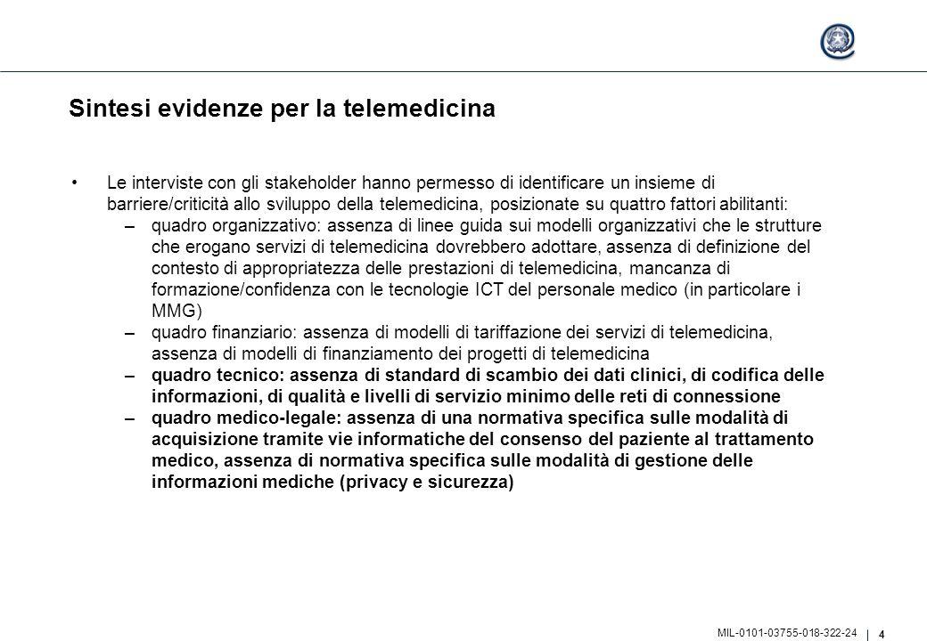 4 MIL-0101-03755-018-322-24 Sintesi evidenze per la telemedicina Le interviste con gli stakeholder hanno permesso di identificare un insieme di barrie