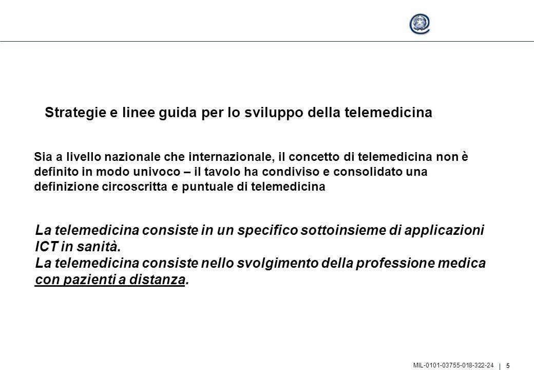5 MIL-0101-03755-018-322-24 Strategie e linee guida per lo sviluppo della telemedicina Sia a livello nazionale che internazionale, il concetto di tele