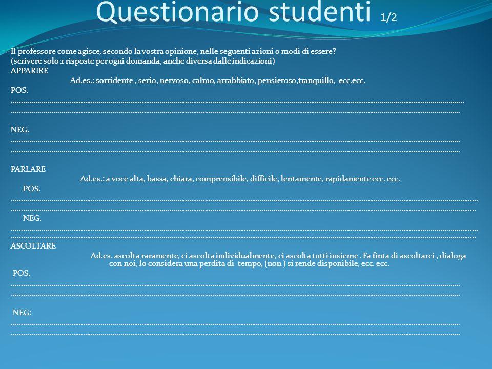 Questionario studenti 1/2 Il professore come agisce, secondo la vostra opinione, nelle seguenti azioni o modi di essere? (scrivere solo 2 risposte per