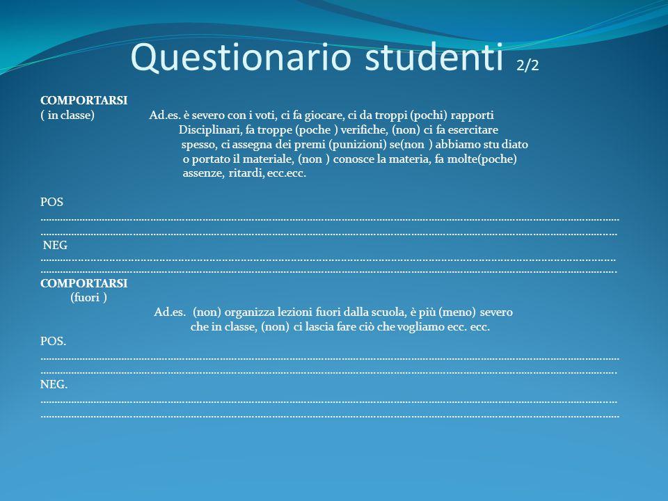 Questionario studenti 2/2 COMPORTARSI ( in classe) Ad.es. è severo con i voti, ci fa giocare, ci da troppi (pochi) rapporti Disciplinari, fa troppe (p