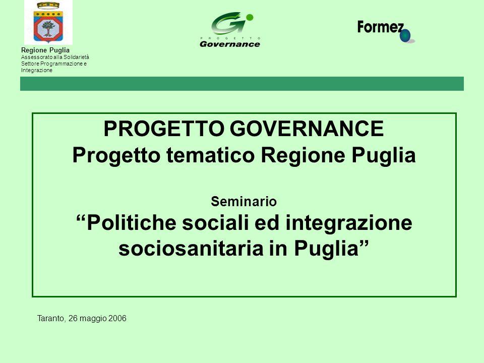 """Taranto, 26 maggio 2006 PROGETTO GOVERNANCE Progetto tematico Regione Puglia Seminario """"Politiche sociali ed integrazione sociosanitaria in Puglia"""" Re"""