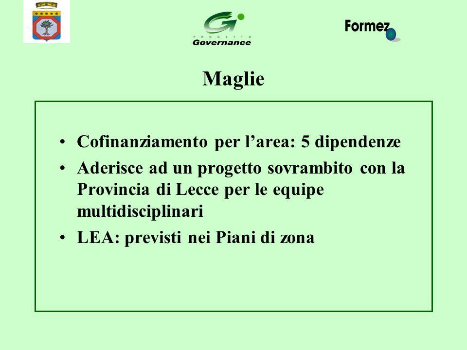 Maglie Cofinanziamento per l'area: 5 dipendenze Aderisce ad un progetto sovrambito con la Provincia di Lecce per le equipe multidisciplinari LEA: prev