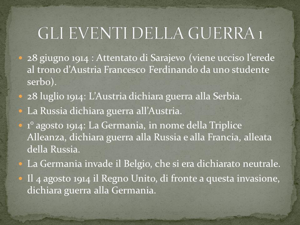 28 giugno 1914 : Attentato di Sarajevo (viene ucciso l'erede al trono d'Austria Francesco Ferdinando da uno studente serbo).