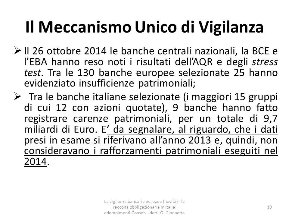 Il Meccanismo Unico di Vigilanza - – i risultati del comprehensive assessment Il MEF con un comunicato stampa del 26 ottobre 2014 ha riassunto i risultati dell'AQR e dello stress test; La prova di stress UE è stata condotto su un campione di banche UE a livello consolidato ed ha valutato la loro capacità di resistenza in scenari ipotetici, uno di base e uno avverso, su un periodo di tre anni (2014-2016); La vigilanza bancaria europea (novità) - la raccolta obbligazionaria in Italia: adempimenti Consob - dott.