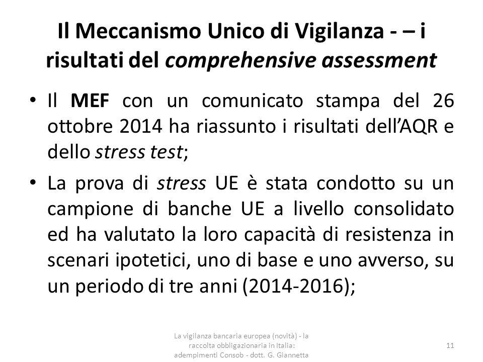 Il Meccanismo Unico di Vigilanza – i risultati del comprehensive assessment  La maggior parte delle 15 banche italiane sottoposte ad analisi approfondita ha rafforzato il proprio capitale attraverso fonti private per un importo di circa 11 miliardi di euro dal 31 dicembre 2013.