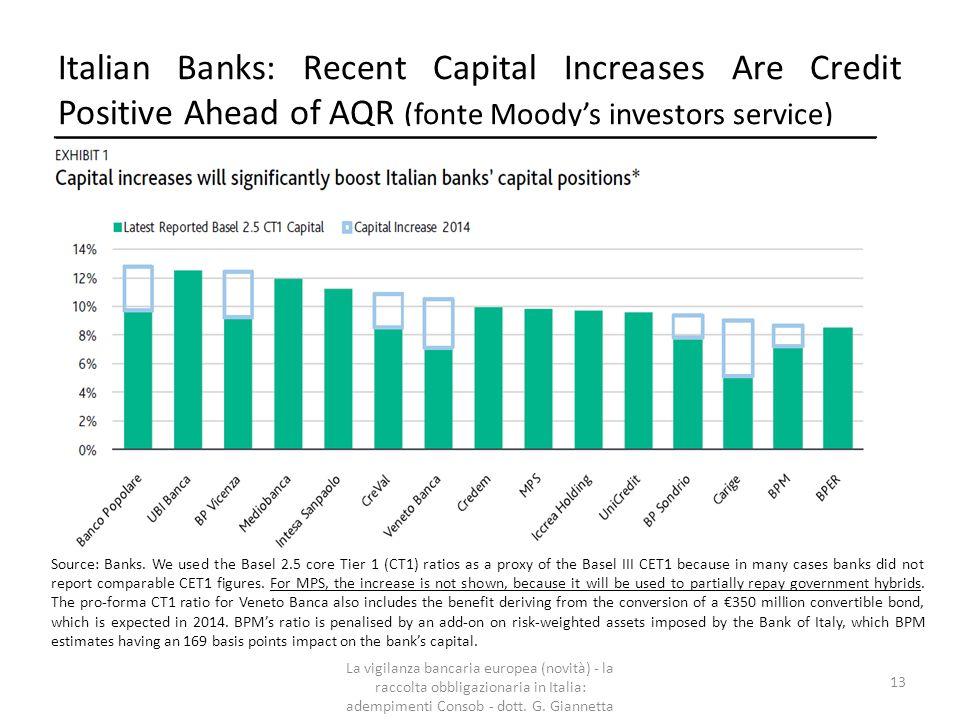 Il Meccanismo Unico di Vigilanza  Considerando le misure di rafforzamento patrimoniale eseguite nel 2014, le carenze patrimoniali delle banche italiane si sono ridotte a 2,9 miliardi di Euro, riferibili a 2 sole banche (Carige e Montepaschi).