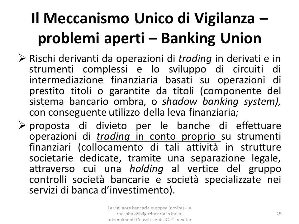 Il Meccanismo Unico di Vigilanza – problemi aperti – Capital Markets Union  Armonizzazione delle regole e delle prassi di vigilanza nel settore dei mercati finanziari mediante la predisposizione di un Testo Unico Europeo delle norme che regolano i mercati finanziari;  In analogia a quanto avvenuto nel settore bancario, tendere, anche per i mercati finanziari ad una più forte centralizzazione delle responsabilità e dei compiti di vigilanza in capo ad un'Autorità per i Paesi dell'area euro.