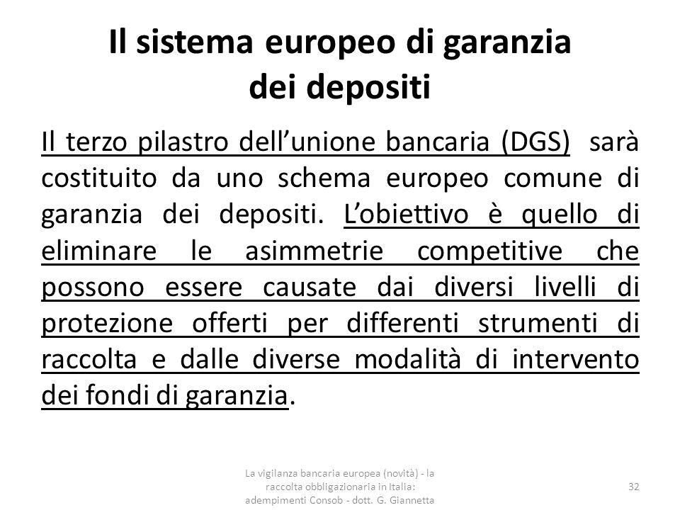 La Direttiva sulla risoluzione delle crisi bancarie e dei depositi  Il Parlamento europeo ha adottato il 15 aprile 2014 le proposte della Commissione europea funzionali all'attuazione dell'Unione bancaria, ovvero la proposta della direttiva per la costituzione di un regime armonizzato per la gestione delle crisi degli intermediari finanziari (BRRD - Banking Recovery and Resolution Directive), il meccanismo unico di risoluzione delle crisi (SRM - Single Resolution Mechanism) e la proposta della direttiva relativa agli Schema comune di garanzia dei depositi (DGS - Deposit Guarantee Schemes).