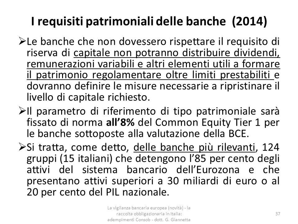 I requisiti patrimoniali delle banche (novità 2014) In ambito comunitario i contenuti di Basilea 3 sono stati trasposti in due atti normativi: — il Regolamento (UE) n.